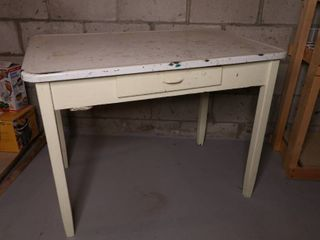 White Wood Table. Metal Topped.
