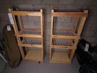 Wooden Shelves with Metal Racks