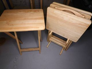 Set of Four Wooden TV Tables with Stant