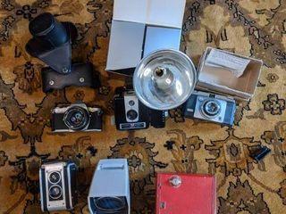 Vintage Cameras featuring Pentax ME, Kodak Dual Reflex, Box Camera & More