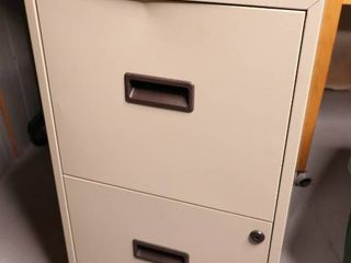Two Drawer Beige File Cabinet