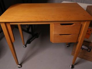 Wooden Table with Two Drawers on Wheels