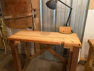 Work Bench and Antique Lamp