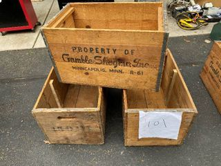 Three Rustic Crates 23X13X13