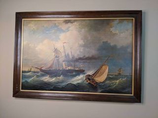 Large Framed Art of Boats on The Rough Sea