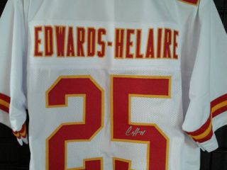 Signed Clyde Edwards Helaire Custom Kansas City Chiefs Home White  25 Jersey With Beckett Witnessed Authentication