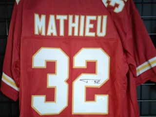 Signed Tyrann Mathieu Kansas City Chiefs  32 Custom Jersey with James Spence WITNESSED Authentication