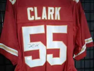 Signed Frank Clark Kansas City Chiefs  55 Custom Jersey with James Spence WITNESSED Authentication