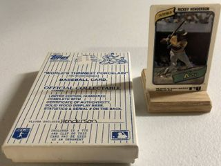 1980 Topps Rickey Henderson Rookie Card   World s Thinnest Porcelain Baseball Card   Complete in Box  limited Edition  Numbered  with Certificate of Authenticity