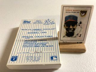 1954 Topps Ernie Banks Rookie Card   World s Thinnest Porcelain Baseball Card   Complete in Box  limited Edition  Numbered  with Certificate of Authenticity