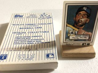 Iconic 1952 Topps Mickey Mantle Rookie Card   World s Thinnest Porcelain Baseball Card   Complete in Box  limited Edition  Numbered  with Certificate of Authenticity