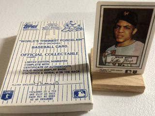 Iconic 1952 Topps Willie Mays Rookie Card   World s Thinnest Porcelain Baseball Card   Complete in Box  limited Edition  Numbered  with Certificate of Authenticity