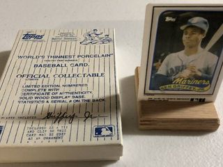 1989 Topps Traded Ken Griffey Jr Rookie Card   World s Thinnest Porcelain Baseball Card   Complete in Box  limited Edition  Numbered  with Certificate of Authenticity