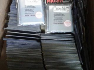 Box of Hundreds of Used Top loader Card Protectors   New Penny Sleeves