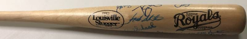 Kansas City Royals Stadium Giveaway Baseball Bat Signed by Multiple Royals Greats - Frank White, Paul Schaal, Fred Patek, Dennis Leonard, Brian McRae, Mark Gubicza