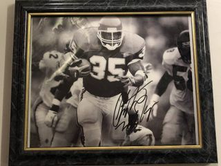 Signed Christian Okoye 8x10 Black and White Framed Photograph - Kansas City Chiefs