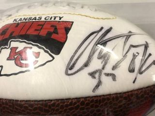 Signed Christian Okoye Kansas City Chiefs Miniature Football With Chiefs Logo