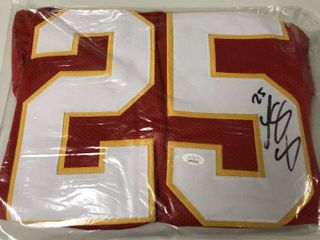 Signed Lesean McCoy Custom Kansas City Chiefs #25 Jersey With James Spence WITNESSED Authentication (JSA)