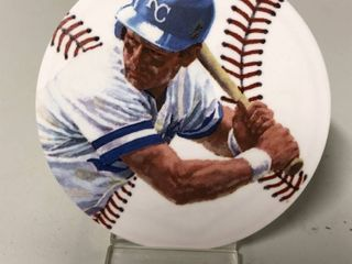 Lot of Five Gartlan USA Inc George Brett Ceramic Round Mini Plate - All New In Box With Stands