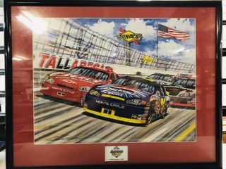 Limited Edition Gary Hill Print 2004 Talledega Speedway Aaron's 499 Framed & Matted Jeff Gordon passing Dale Earnhardt Jr