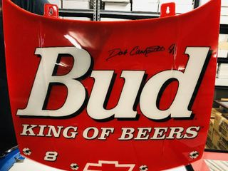 Large 3 ft x 3 ft Bud King of Beers Dale Earnhardt Jr Replica Race Car Hood Advertising Sign
