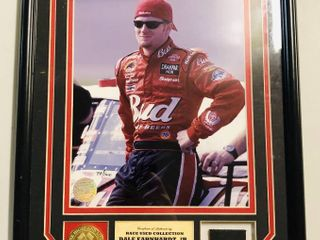 Highland Mint Dale Earnhardt Jr Framed   Matted 8x10 Photograph with Race Used Tire Piece   Coin With Certificate of Authenticity