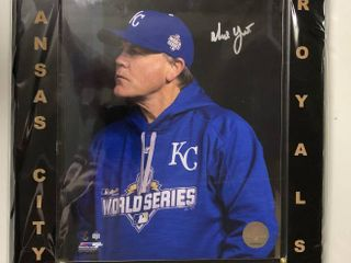 Signed Ned Yost 8x10 Photograph in Black Ebony Wood Plaque with Gold Printing and Certificate of Authenticity