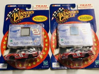 Two Winner s Circle Mini Diecast Cars with Piece of Dale Earnhardt Jr Race Used Sheet Metal Piece   New In Package