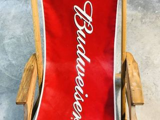 Budweiser Wooden Folding Chair with Canvas Seat Advertising Piece