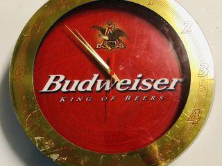 Budweiser Neon Clock Advertising Piece   20 Inches in Diameter
