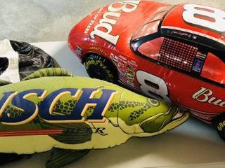 Three Budweiser  8 Earnhardt Race Car  Busch Beer Fish  and Dale Earnhardt Jr  8 Inflatable Advertising Pieces   All able to inflate