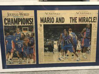 Framed lawrence Journal World Newspaper   2008 NCAA Champion Kansas Jayhawks   Mario and the Miracle Champions