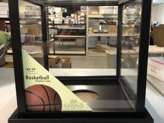 Wood   Glass Basketball Display Case New   Perfect Condition with labels still Attached