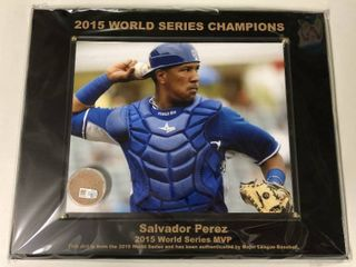 Salvador Perez 2015 World Series Champions Official 8x10 Photograph and Plaque with MLB Authenticated 2015 World Series Game Used Dirt