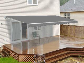 AlEKO Outdoor Garden Retractable Patio Awning 8 X 6 5 ft Grey