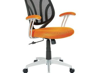 Work Smarta Screen Back Chair with Orange Mesh Fabric and Silver Coated Arms and Base