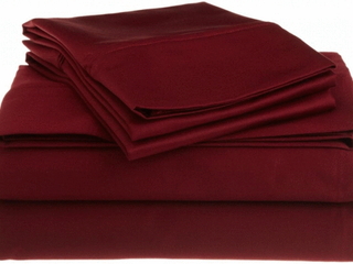 Egyptian Cotton 1200 Thread Count Oversized Full Sheet Set Solid  Burgundy