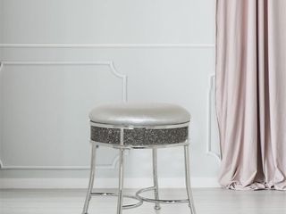 Hillsdale Diamond Cluster Glam Backless Metal Vanity Stool  Chrome