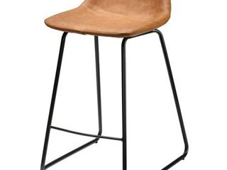 Cortesi Home Ava Counterstools in Saddle Brown faux leather  Set of 2