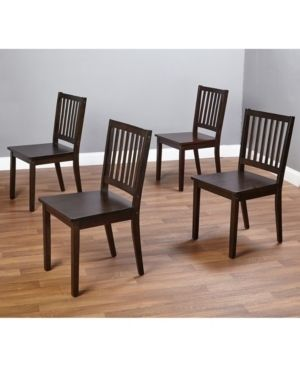 Simple living Slat Espresso Rubberwood Dining Chairs  Set of 4