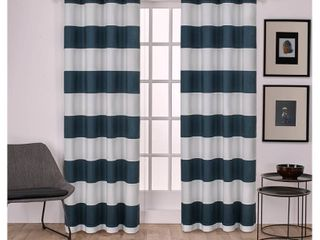 Set of 2 84 x54  Surfside Cotton Cabana Stripe light Filtering Window Curtain Panel Indigo   Exclusive Home