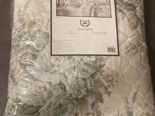 Estelle Blue King 4pc  Quilt Set Bedding