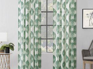 84 x52  Angelou leaf Print linen Blend light Filtering Rod Pocket Curtain Panel Green   Scott living