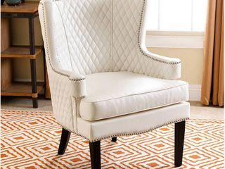 Abbyson Stephanie White leather Quilted Armchair