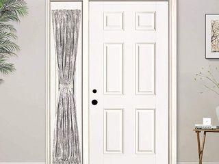 Driftaway Adrianne Door Curtain  Sidelight Curtain Thermal Rod Pocket Room Darkening Privacy Front Door Panel  Single Curtain With Bonus Adjustable Tieback 25 Wide By 72  long  1 5 Header  Beige Gray