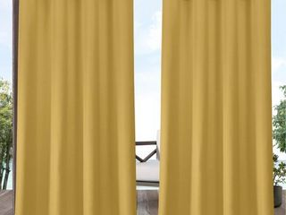 84 x54  Delano Grommet Top light Filtering Window Curtain Panels Yellow   Exclusive Home