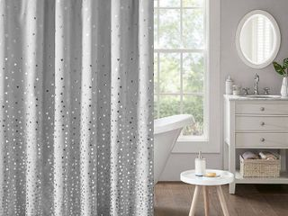 Nova Printed Shower Curtain Gray Silver
