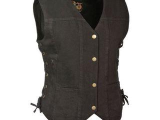 Milwaukee leather Womens 6 Pocket Side lace Denim Vest w  Gun Pockets Black