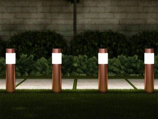 Pure Garden 50 lG1071 Solar Path Bollard lights 15 in  Stainless Steel Outdoor Stake lighting for Garden   Copper   Set of 6