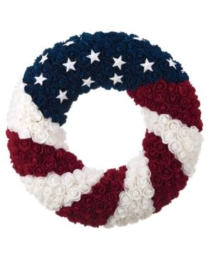 Patriotic Wreath 21 Inch Diameter  Roses and Stars  Red White and Blue 4th Of July Decorating